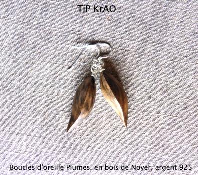 Boucles d'oreille Plumes, bois de Noyer, argent 925, tournage excentré