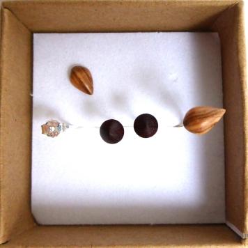 Boucles d'oreille bois clous double goutte olivier tek brun Argent massif 925°° 2