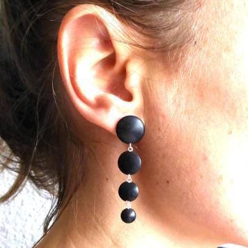Boucles d'oreilles Bois Cascade ebène noire Argent 925°° 1