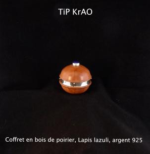 coffret bois de poirier, lais lazuli, argent 925