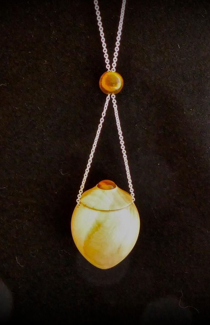 amulette en bois de houx, oeil du tigre, argent