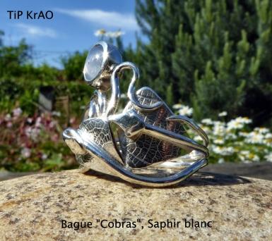 bague Cobras Saphir blanc étoilé