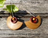 Boucles d'oreille bois de Difou et Padouk