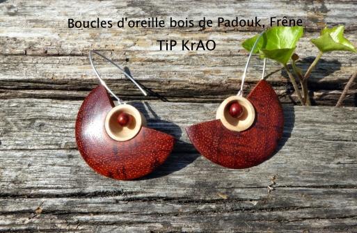 Boucles d'oreille bois de Padouk et Frêne