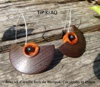 Boucles d'oreille bois de Wengué, Cocobollo et ébène