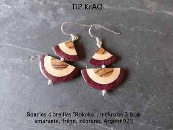 boucles d'oreille incrustation 3 bois, argent 925