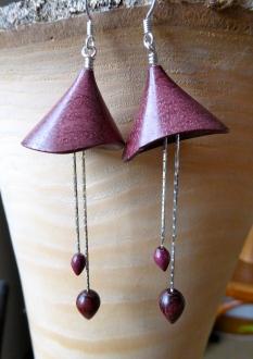 clochettes bois d'amarant, perles bois de violette, argent