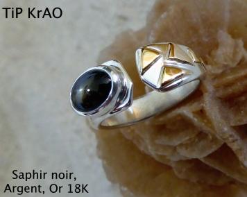 Saphir Noir , Argent et Or 18K