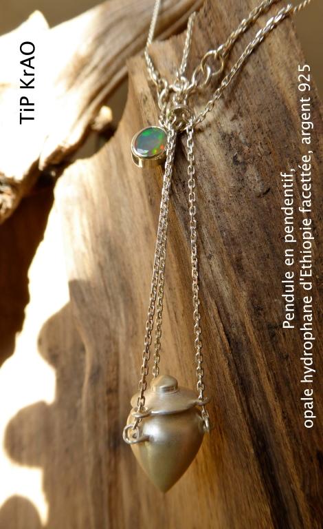 TiP KrAO Amulette argent 925, Opale d'Ethiopie facettée