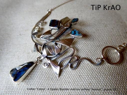TiP KrAO collier opales boulder taillées en atelier, argent 925