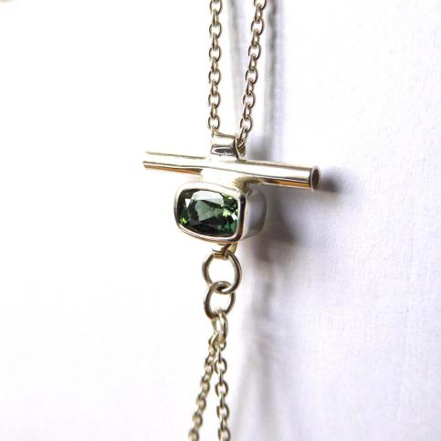 Collier Sautoir Amulette Tourmaline Verte facettée Rectangle Perles tourmalines vertes Argent 925°°5